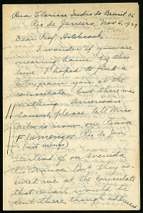 Image of Mary Agnes Chase correspondence, 1929 trip to Brazil