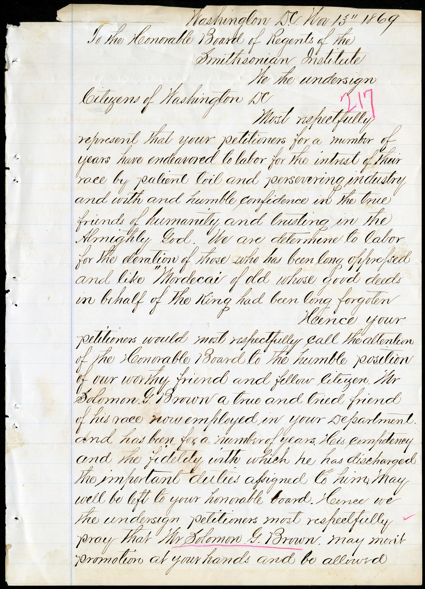 Petition to Board of Regents, 11/13/1869
