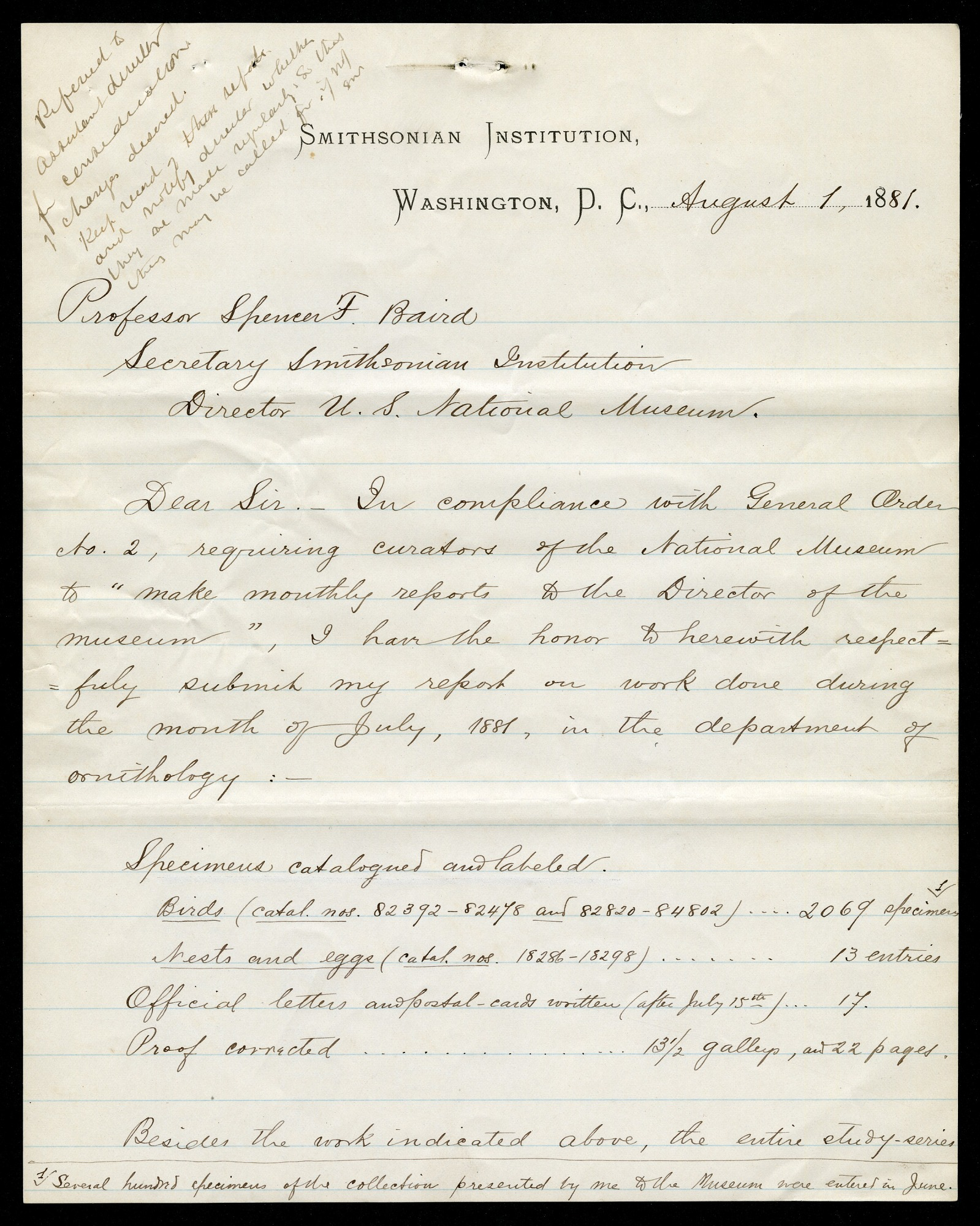 Department of Birds: Monthly Reports July - November 1881