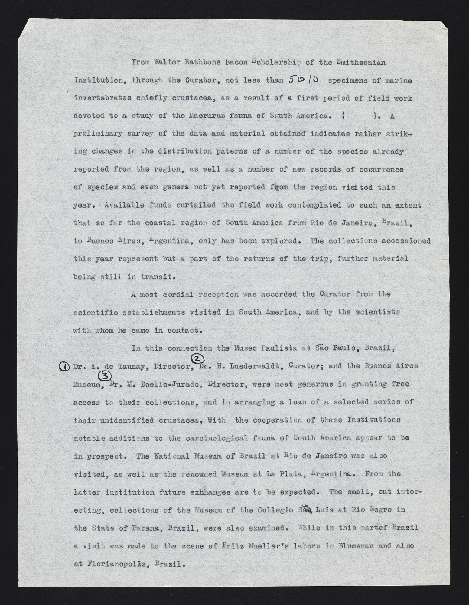 Walter Rathbone Bacon Traveling Scholarship Expeditions to the East and West Coasts of South America, 1925-1927 : reports on the expeditions by Waldo LaSalle Schmitt