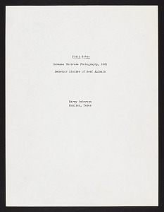Image of Field notes of Harry Pederson, 1961