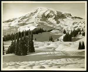 Image of Glaciers - Upper Paradise Valley and the Mountain in winter, Mount Rainier National Park