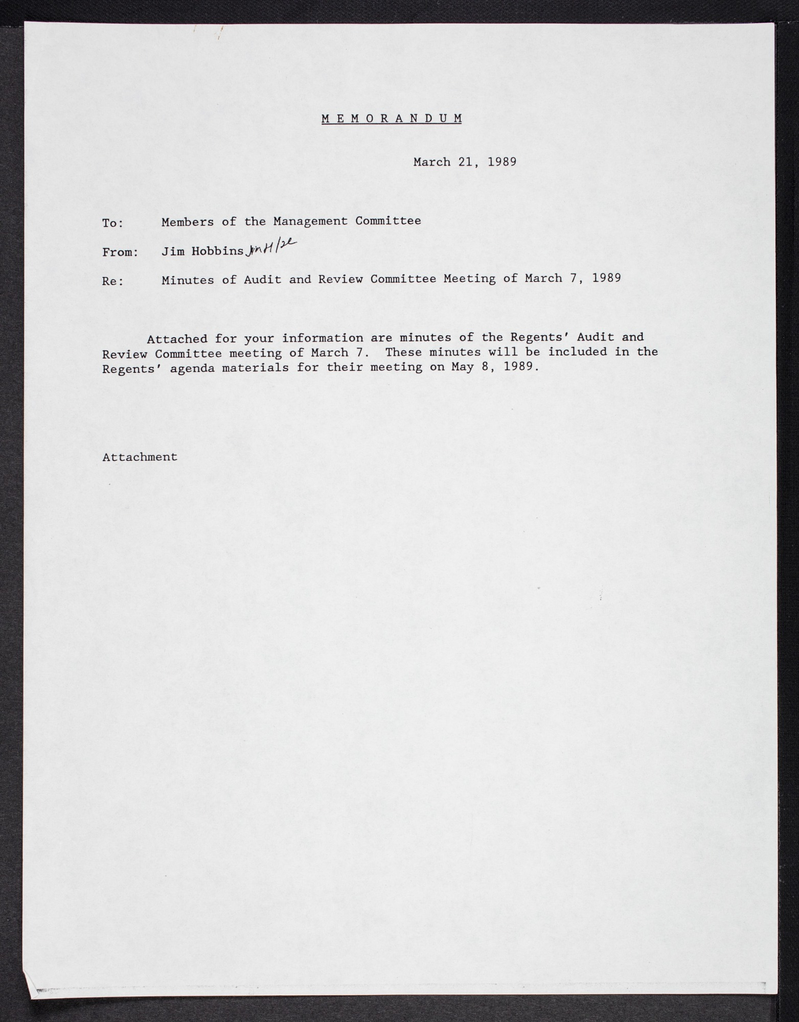 Board of Regents Minutes May 8, 1989
