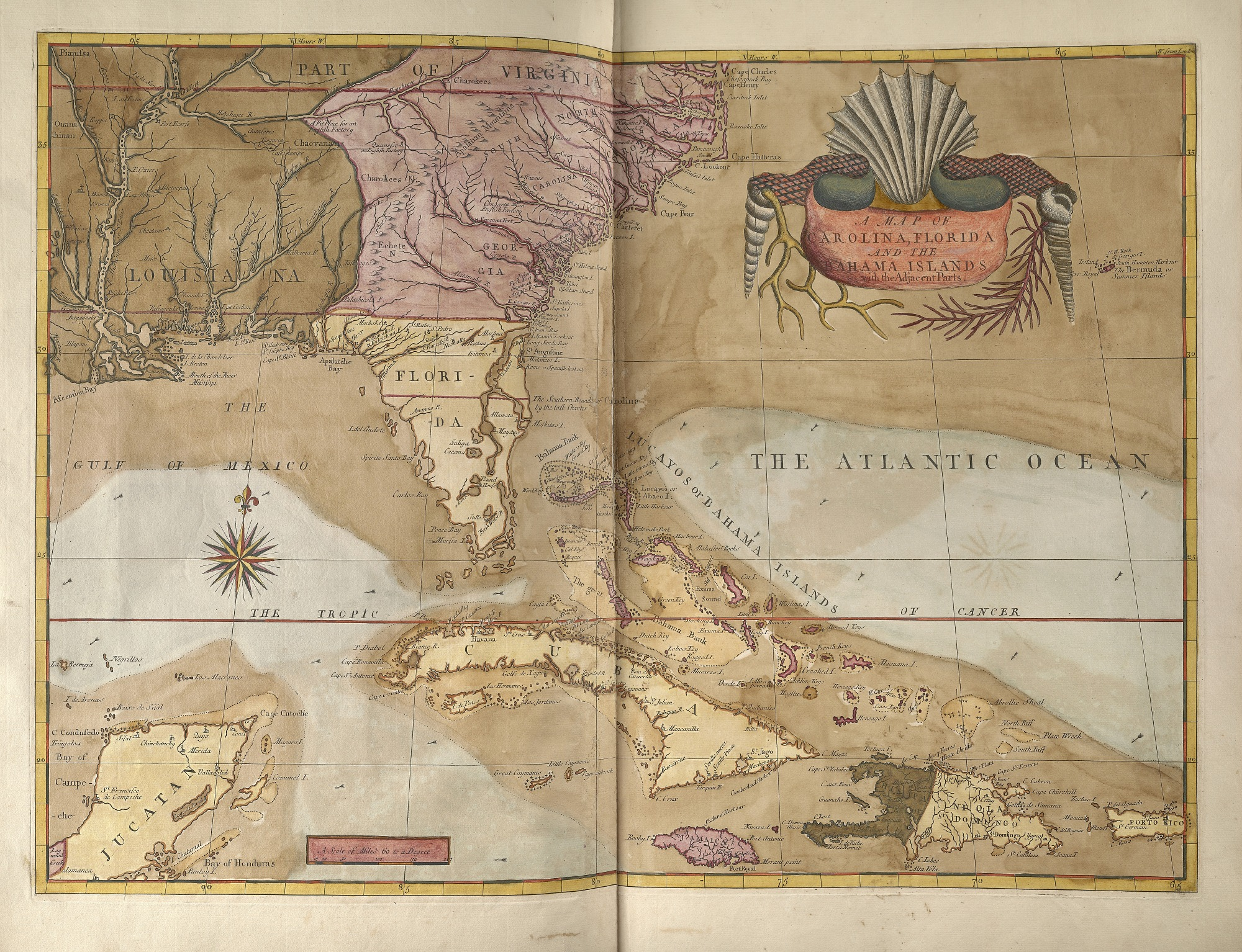 Map from Mark Catesby, The Natural History of Carolina, Florida and the Bahama Islands