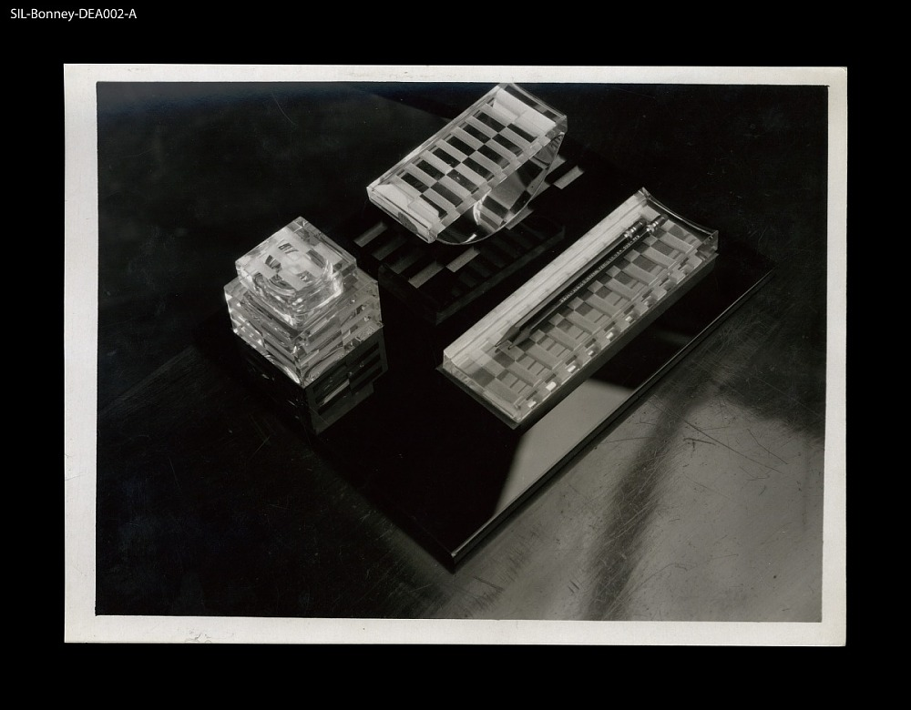Desk Accessories France Circa 1929 Etched Crystal Metal Black Glass Inkwell Blotter And Pencil Holder On Base Jean Luce Designer