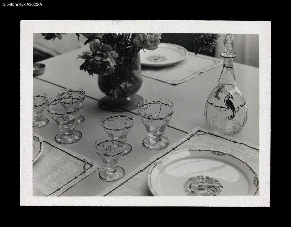 Table setting. France, circa 1929. Porcelain and glassware. Marcel ...