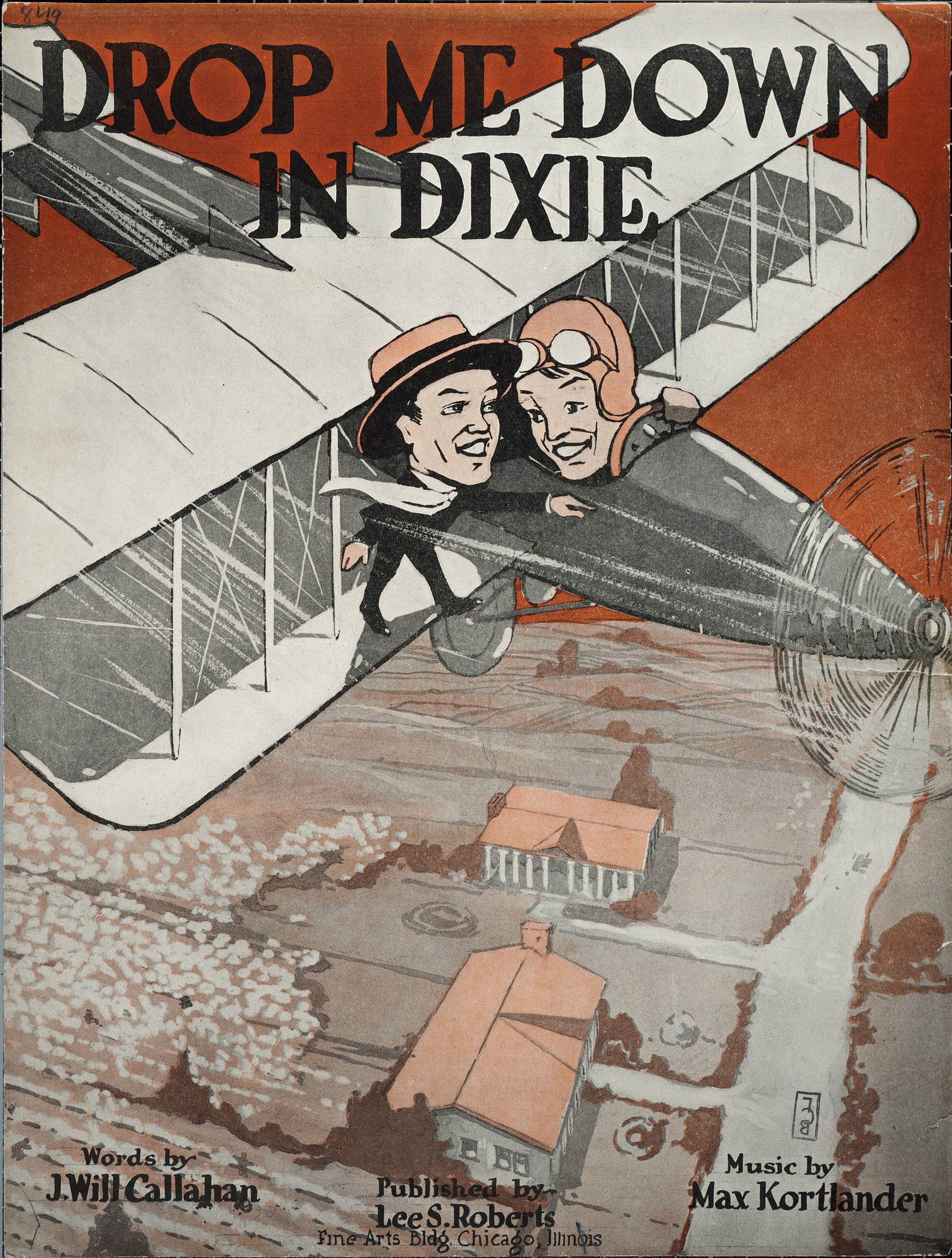 Drop me down in Dixie / words by J. Will Callahan ; music by Max Kortlander