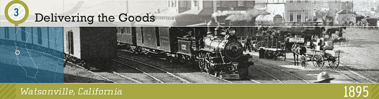 Delivering the Goods (showing wagon with goods meeting train at station)