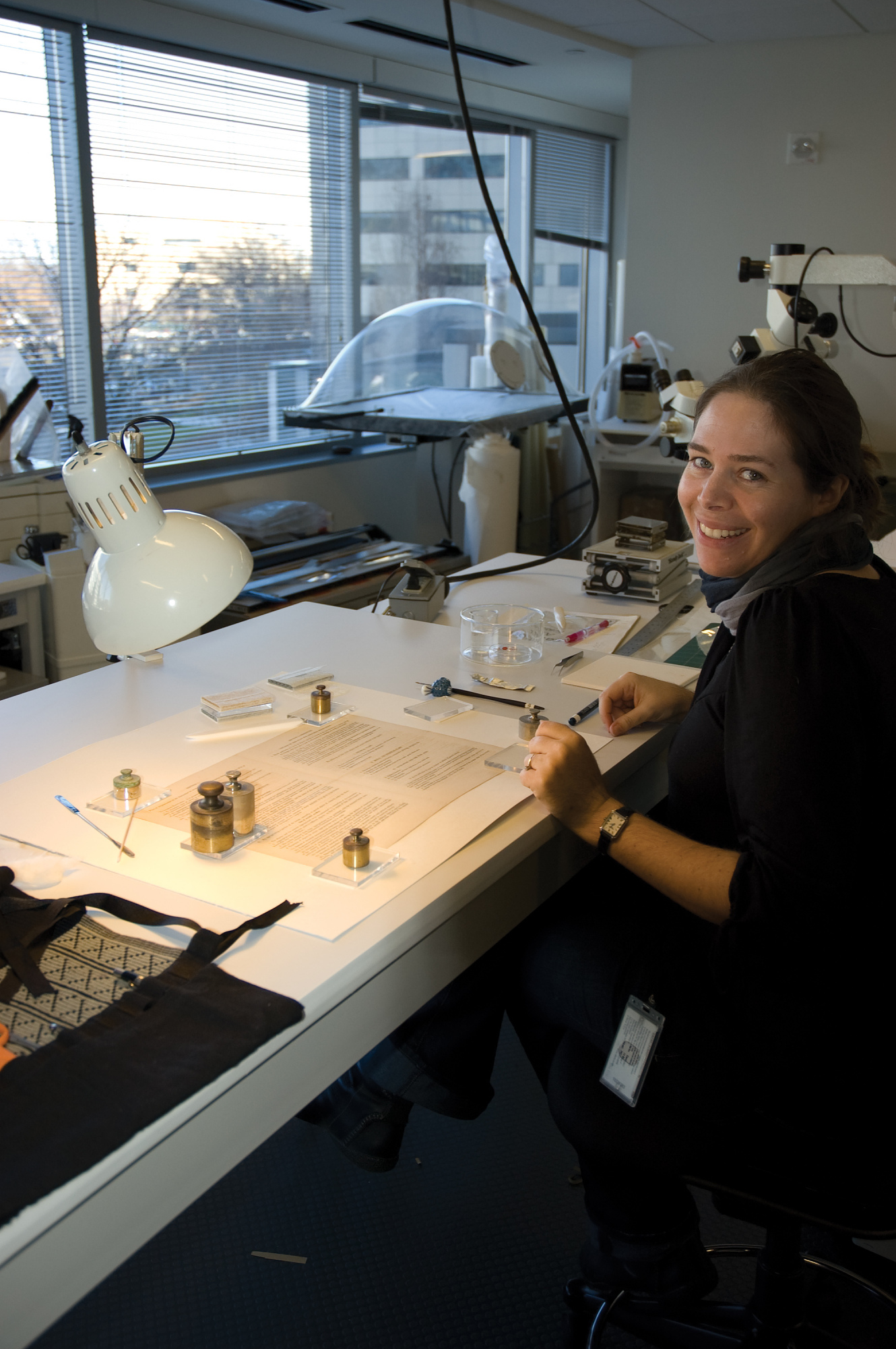 Postgraduate Fellow in Conservation, Beth Antoine, Center for Archives Conservation, by Nora Lockshin, Courtesy of Smithsonian Institution Archives.