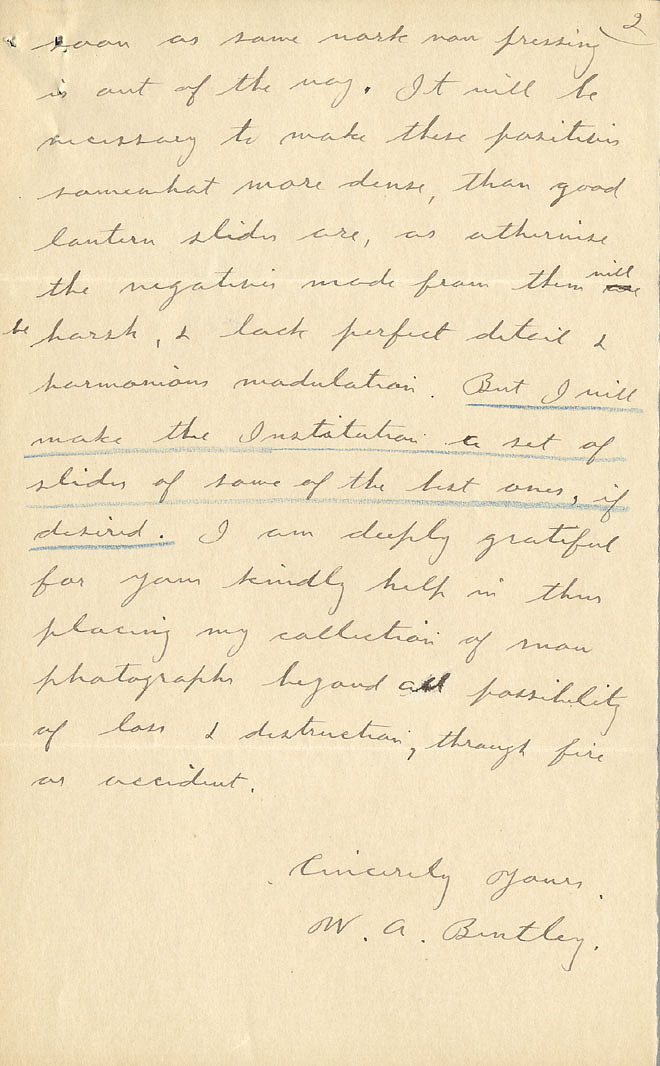 Wilson A. Bentley Letter - Dec 26, 1904 - Page 2