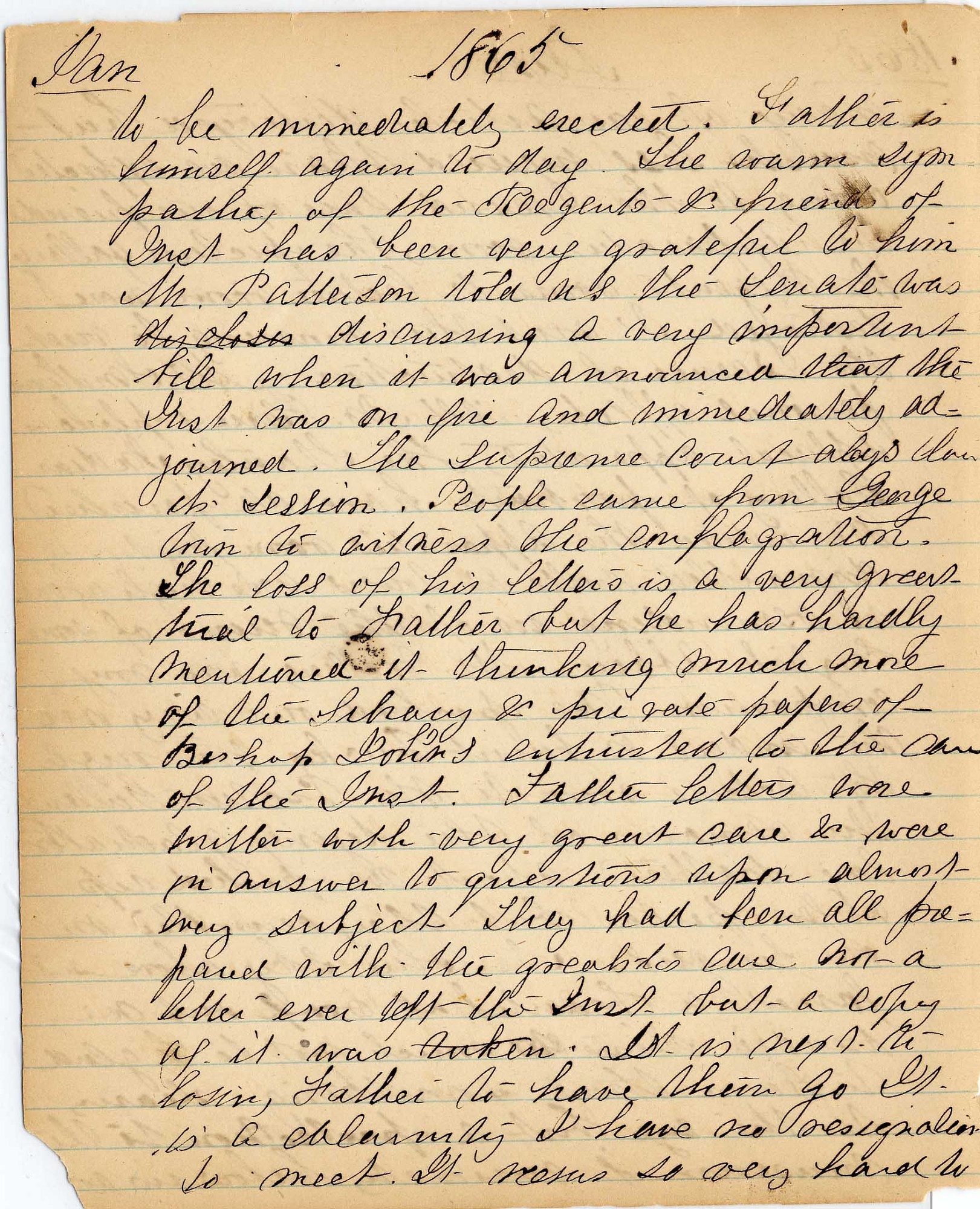 Mary Henry Diary, Fire - Jan 1865 - Page 6