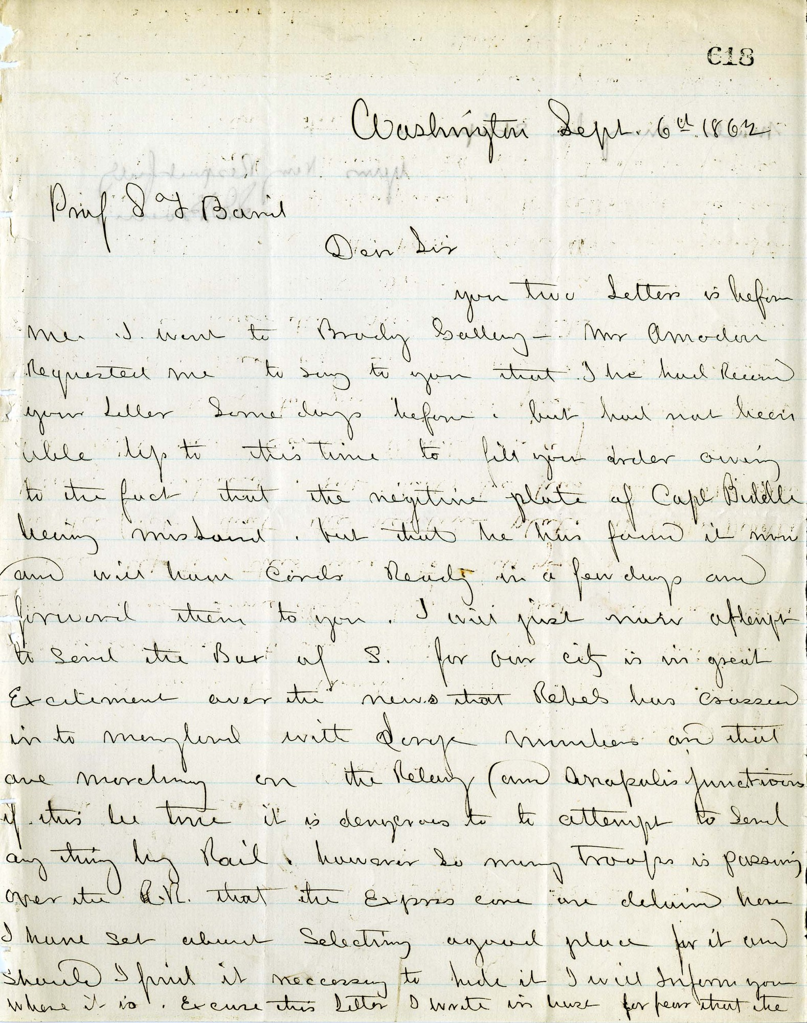 Solomon Brown Letter - Sept 6, 1862 - Page 1