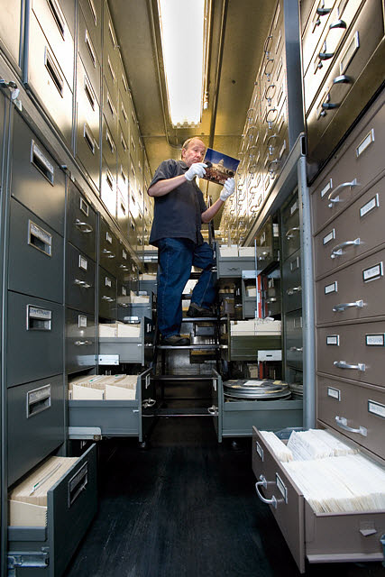 The Smithsonian Institution Archives' Photography Collection Vault, by Ken Rahaim, Courtesy of Smithsonian Institution Archives.