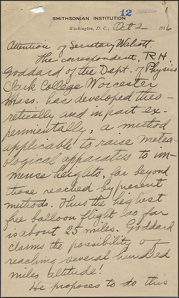 Robert Goddard Letter - Oct 2, 1916 - Page 1