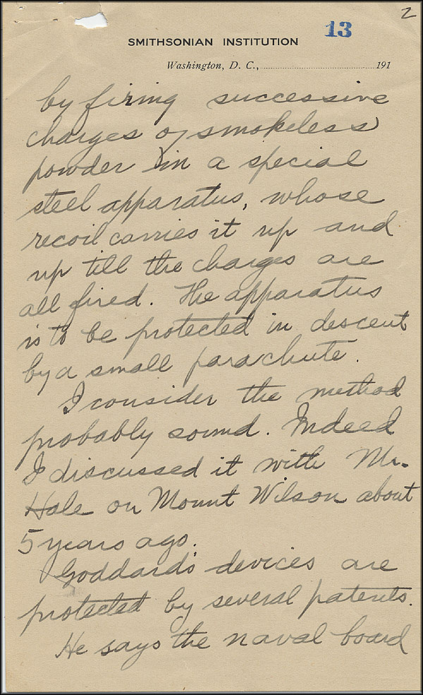 Robert Goddard Letter - Oct 2, 1916 - Page 2