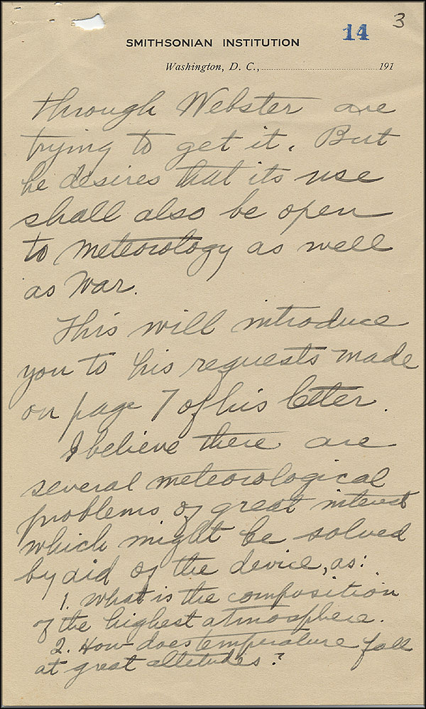 Robert Goddard Letter - Oct 2, 1916 - Page 3