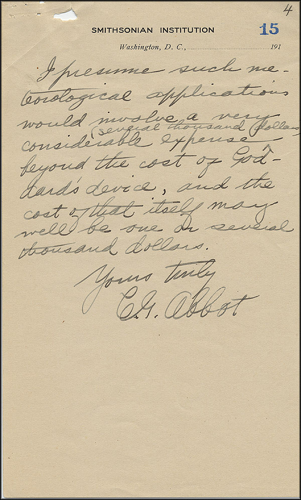 Robert Goddard Letter - Oct 2, 1916 - Page 4