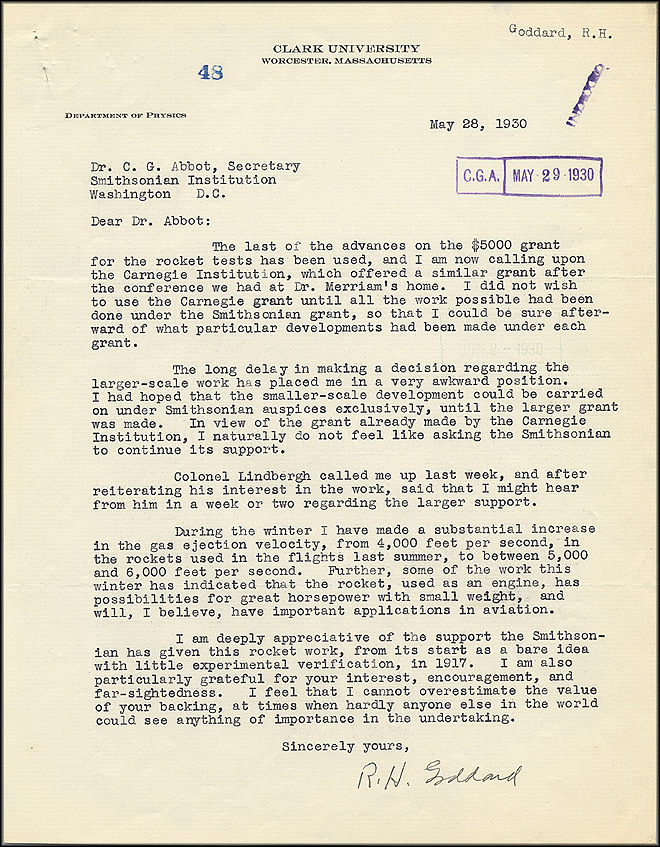 Robert Goddard Letter - May 28, 1930