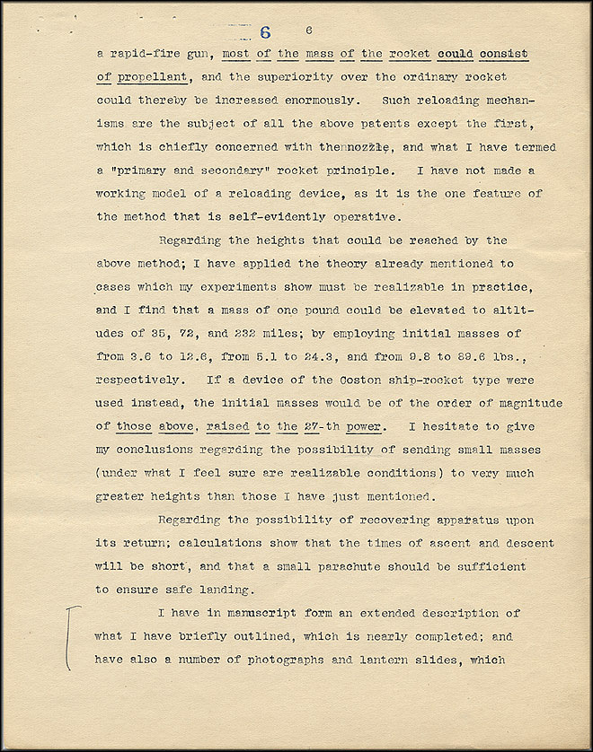 Robert Goddard Proposal - Sept 27, 1916 - Page 6