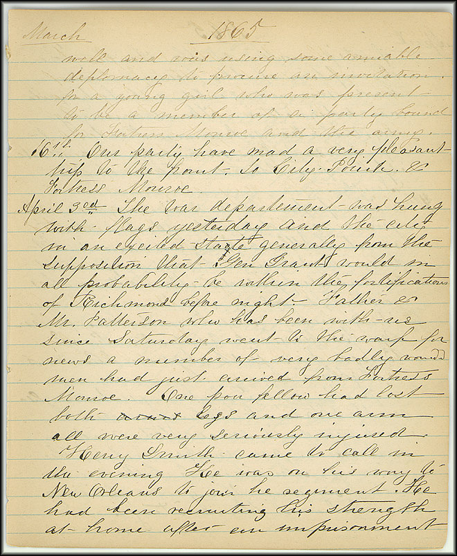 Mary Henry Diary, End of War - April, 1865 - Page 1