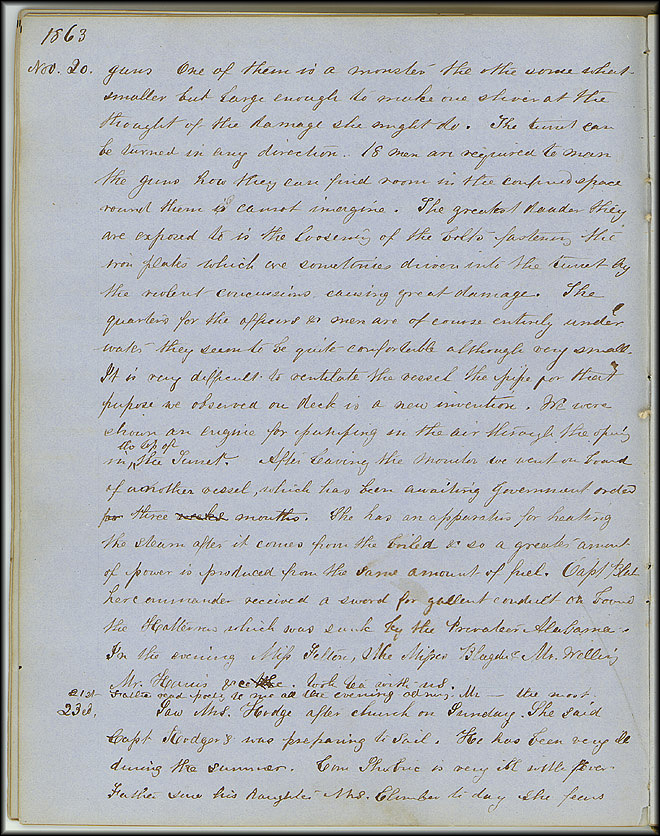 Mary Henry Diary, Ironclad - Nov 20, 1863 - Page 2