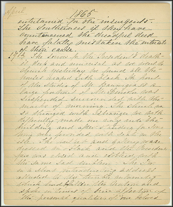 Mary Henry Diary, Lincoln - April, 1865 - Page 6