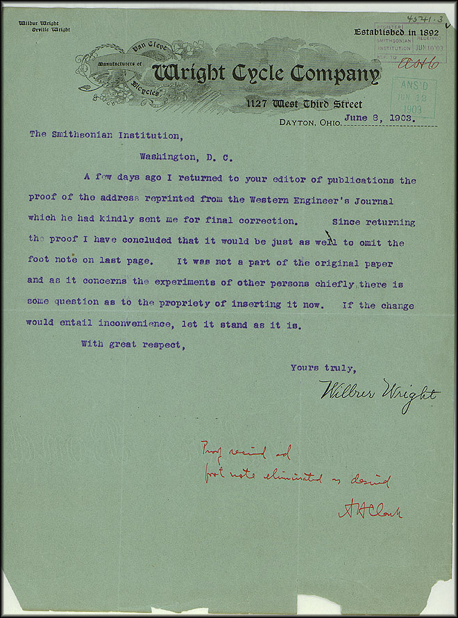 Wright Bros. Letter - June 8, 1903