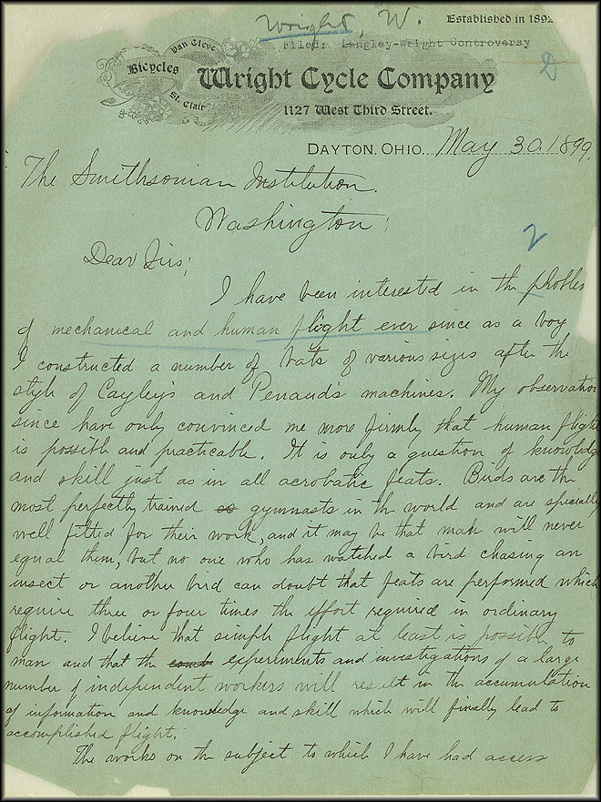 Wright Bros. Letter - May 30, 1899 - Page 1