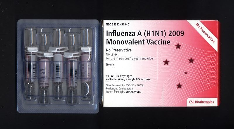 Influenza A (H1N1) 2009 Monovalent Vaccine made by CSL Limited, Parkville, Australia.