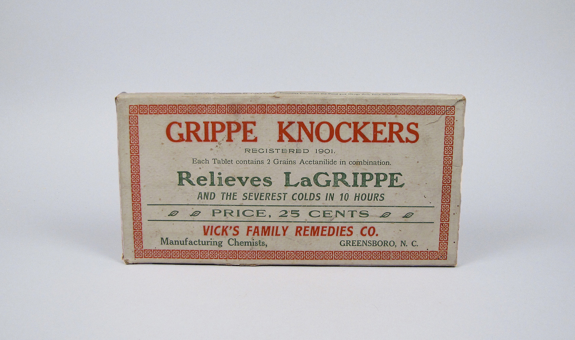 Grippe Knockers, Vick's Family Remedies Company, ca 1908-1918.