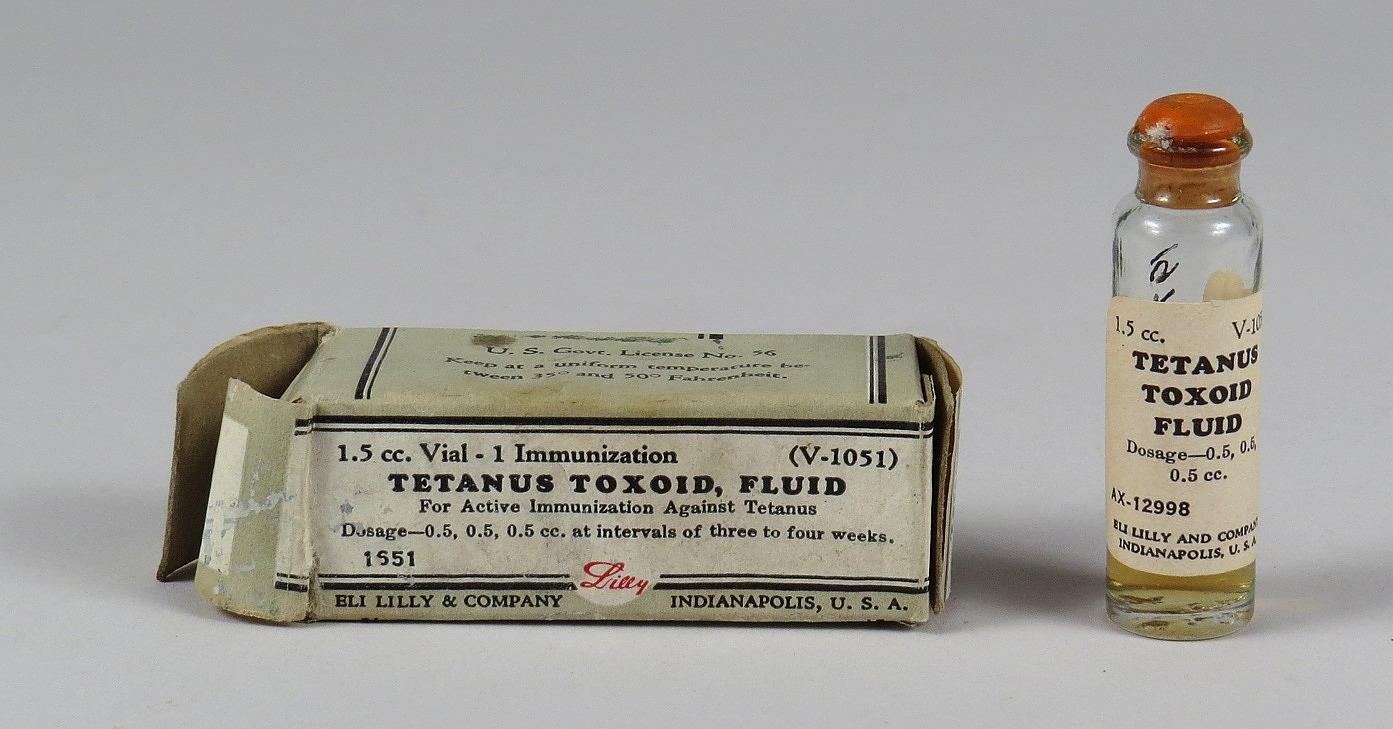 Tetanus Toxoid, Fluid, For Active Immunization Against Tetanus, Eli Lilly & Co., ca 1952.