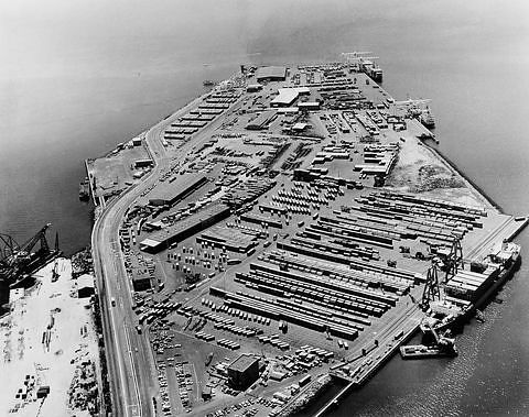 This aerial view of the Matson terminal in Oakland, about 1973