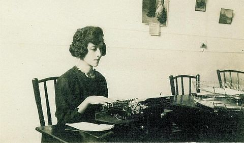 Juana Gallegos in a typing class, Mexico City, Mexico, 1922
