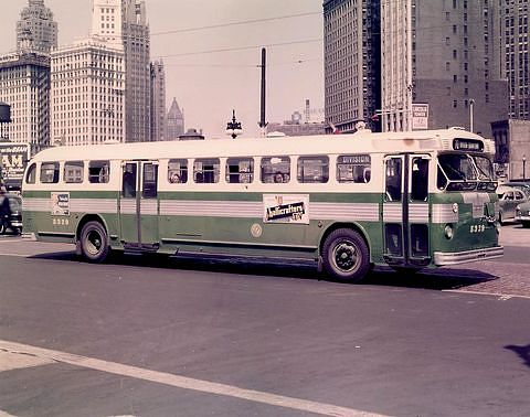 Twin Coach bus in Chicago, 1950s.