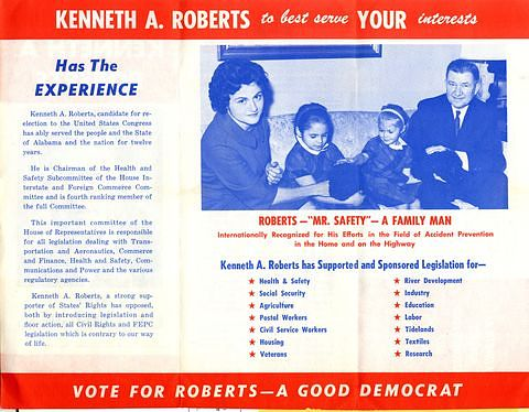 Campaign brochure for Rep. Kenneth A. Roberts,