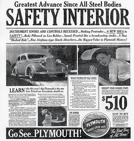 1937 Plymouth safety car ad
