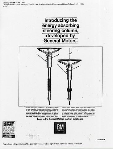 General Motors ad for its energy-absorbing steering column, 1967.