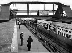 """Indiana Avenue """"L"""" station, Chicago, Illinois, mid-1950s"""