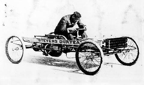 Frank Duryea at the wheel of his racecar