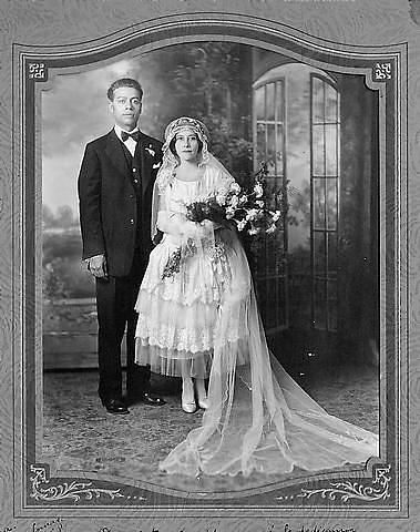 Wedding portrait of Juana Gallegos and Aldolfo Valadez, 1928