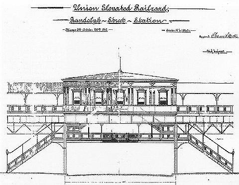 Elevation of the original Randolph and Wabash station, prepared October 26, 1896 for the Union Elevated Loop Railroad.