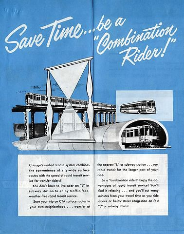Save Time…be a 'Combination Rider', from a Chicago Transit Map issued by the Chicago Transit Authority in 1959