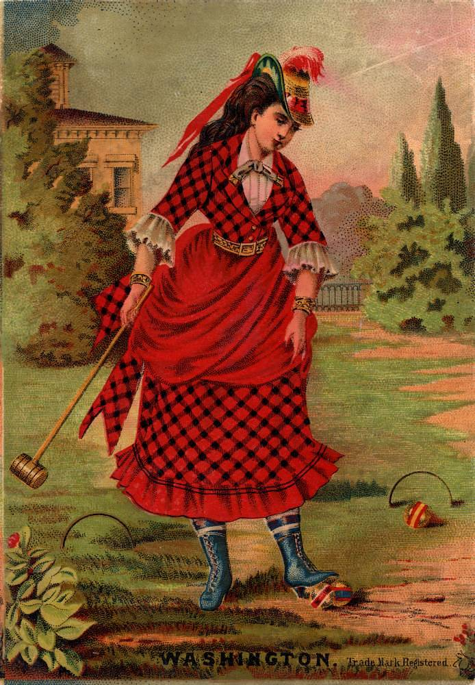 Trade card: Woman playing croquet