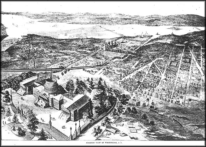 View from balloon of Washington, DC, with Smithsonian Building or Castle at top center and US Capitol at bottom left, 1861