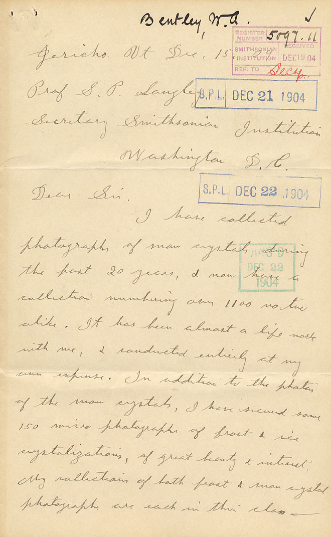 Wilson A. Bentley Letter - Dec 15, 1904 - Page 1