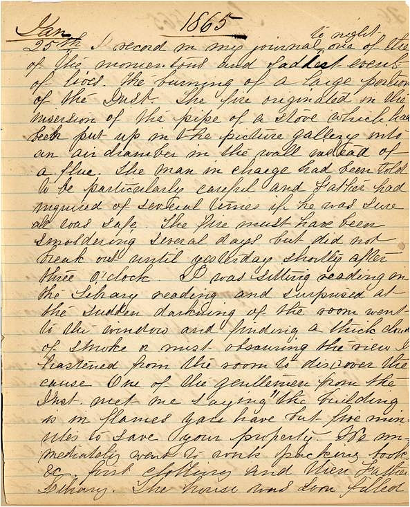 Mary Henry Diary, Fire - Jan 1865 - Page 1