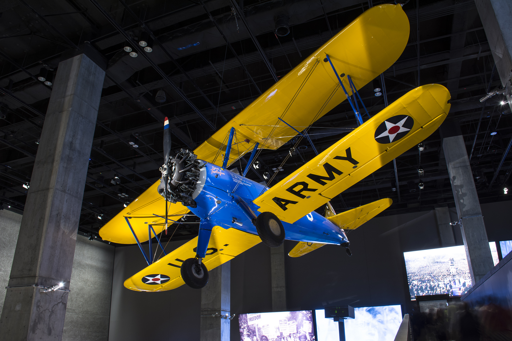 Installation of Tuskegee Training Biplane, NMAAHC