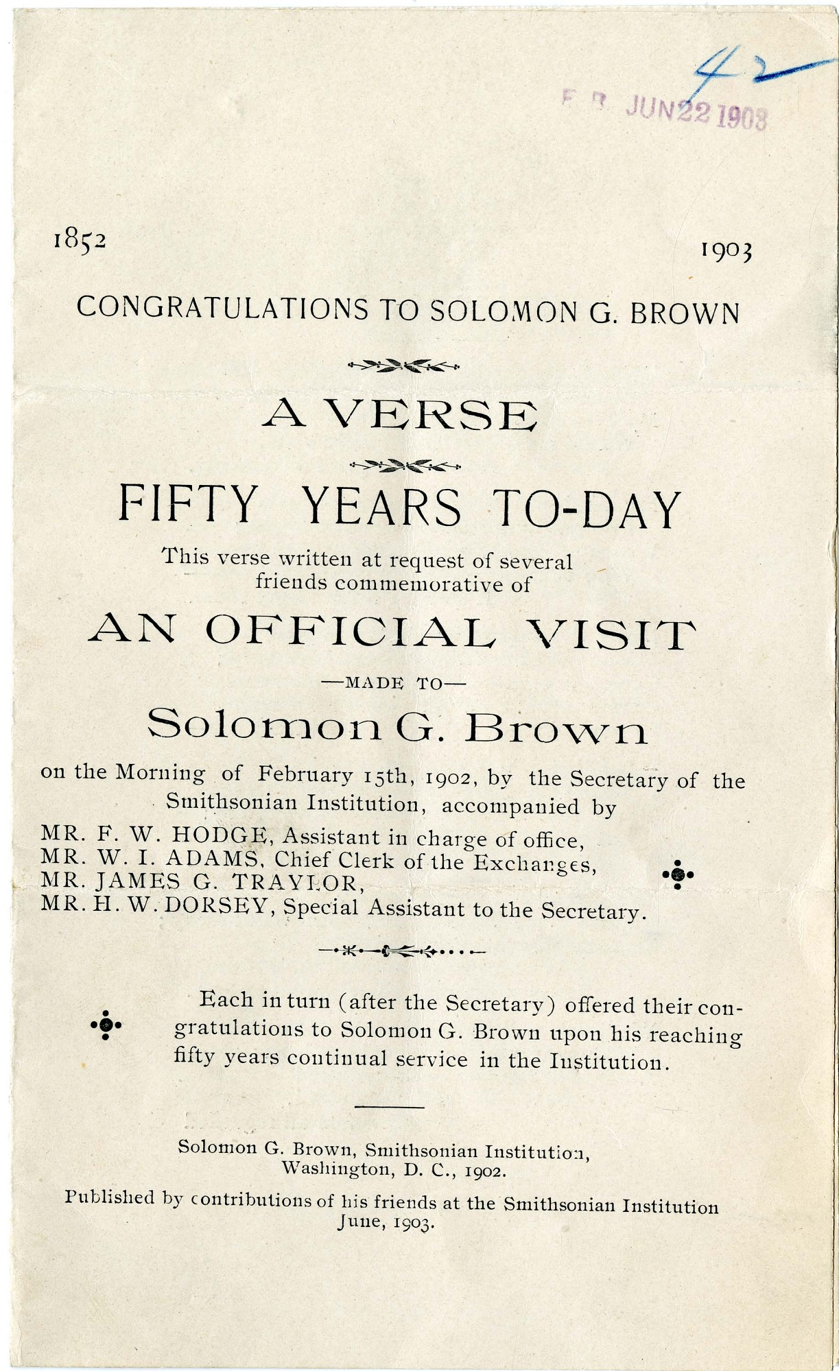 """Solomon Brown Poem, """"Fifty Years To-day,"""" 1903 - Page 1"""