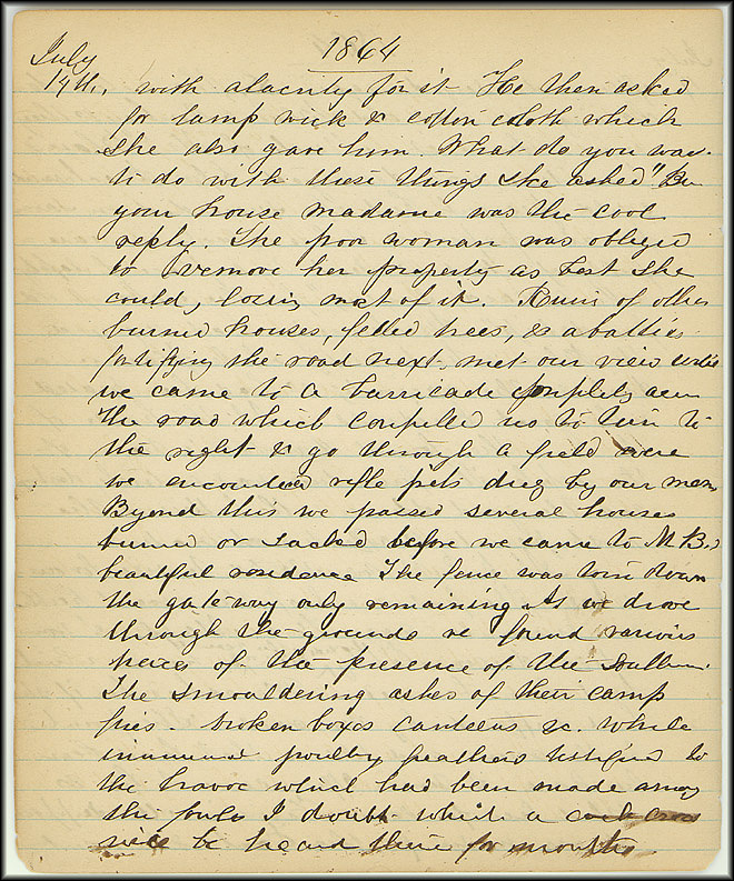 Mary Henry Diary, Southern Army - July, 1864 - Page 10