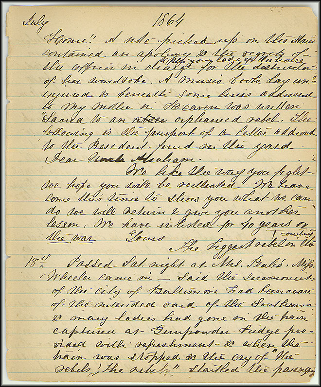 Mary Henry Diary, Southern Army - July, 1864 - Page 15
